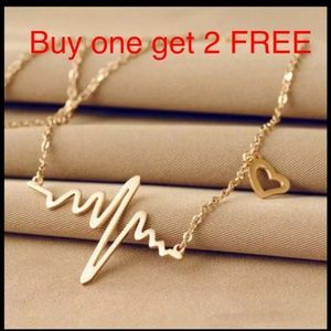 Jewelry - Heart beat gold plated necklace  82